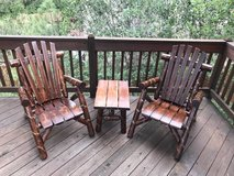 Log Adirondack Chairs and Table, White Cedar, Hand finished in Fort Carson, Colorado