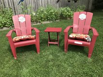 Lot 5 pc patio lawn chairs, table and seat cushions ALL BRAND NEW in Sugar Grove, Illinois