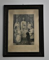 Victorian Era Print Original Frame From Speyer Church in Ramstein, Germany