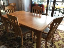 Solid oak dining room table, chairs and hutch. in Ramstein, Germany
