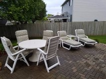 Patio Furniture Set Table Chairs Lounge Cushions in Lockport, Illinois