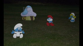 Smurf yard decoration in DeRidder, Louisiana