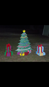 Tree and presents yard decoration in Leesville, Louisiana