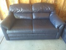 Leather dark blue loveseat couches(matching) in 29 Palms, California