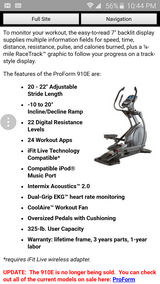 Pro form elliptical in Naperville, Illinois