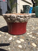 small red pot with rose detail in Vacaville, California
