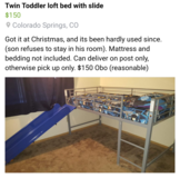Twin loft bed with slide in Colorado Springs, Colorado