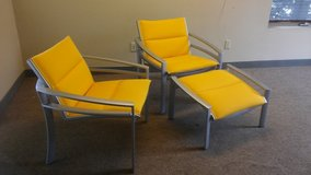 Mid-modern Aluminum Outdoor Chairs with Ottoman - 3 pc. set in Westmont, Illinois