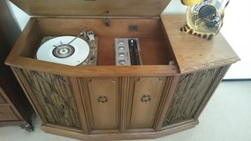 Old console record player in Vacaville, California