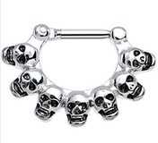 Skull septum clicker body jewelry in Camp Lejeune, North Carolina