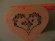 Wooden Heart Jewelry Box with Beautiful Scrollwork of Heart and Roses in Glendale Heights, Illinois