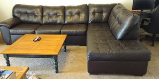 Artificial Leather Couch - 2 Piece Sectional (Please read description) in Alamogordo, New Mexico