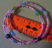 Child's Flexible Wire Beaded Choker Necklace/Bracelet-Translucent Pastel Beads and Flowers in Batavia, Illinois