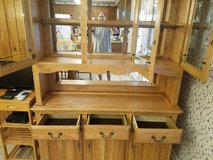 Soild oak Hutch cabinet withSolid Oak Table with two leaks 6 chairs in Fort Campbell, Kentucky