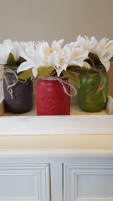3 pint sized, chalk painted mason jars in Fort Knox, Kentucky