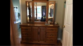 solid oak dresser with mirror in Fort Campbell, Kentucky