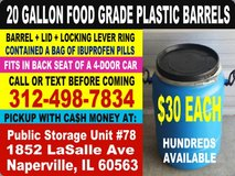Food Grade Plastic Food Storage Barrels in Bartlett, Illinois