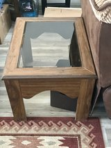 Nice real wood table with glass center in Yucca Valley, California