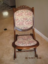 Antique Folding Rocking Chair with Floral Patterned Seat in Fairfield, California