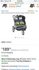 Brand new Baby trend double jogging stroller in Oceanside, California