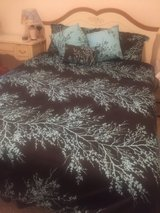 Queen Bed with frame and bedding in Belleville, Illinois