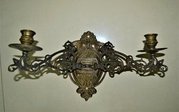 Art Nouveau Style Wall Mounted Bronze Two Candle Candelabra in Ramstein, Germany