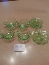 DEPRESSION GLASS  GREEN 4 CUPS AND 4 SAUCERS in Naperville, Illinois
