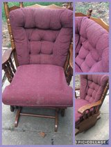 Brown and maroon padded armchair glider in Clarksville, Tennessee