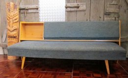 Mid Century Blue Hide a Bed Couch with Storage Compartment in Ramstein, Germany