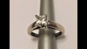 Certified/inscribed Leo Princess Diamond wedding engagement ring .52 ct H/SI2 in Fairfield, California