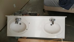 Double Vanity Top, Faucets, Large Mirror in Camp Lejeune, North Carolina