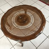 Round Wooden Table with Glasstop Cover in Ramstein, Germany