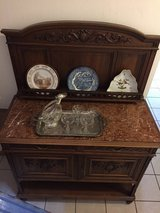 Hand-Carved Buffet / Commode / Mini Bar with Marble Top in Ramstein, Germany