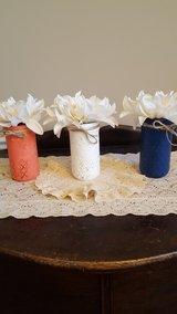 My new project, 3 (12oz) quilted jelly, chalk painted mason jars in Fort Knox, Kentucky