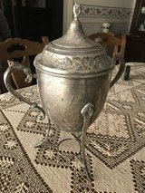 Old silver coffee pot with warmer in Fort Polk, Louisiana