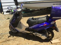 Blue scooter in Travis AFB, California