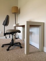 Ivory Modern Wood Desk and Office Chair in Bellaire, Texas