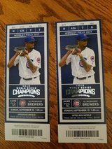 Tickets to the World Series Champion Cubs September game in Yorkville, Illinois