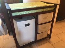 Wooden changing table in Batavia, Illinois