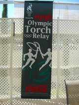 Atlanta 1996 Olympic Torch Relay Banner-Coca Cola in Lake Elsinore, California