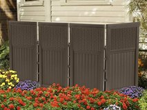 Suncast 8 Panel Resin Wicker Outdoor Screen with 10 stakes in Fairfield, California