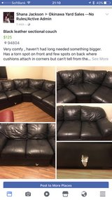 Black Leather Sectional in Okinawa, Japan