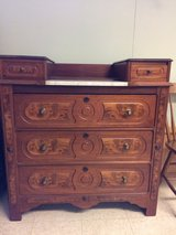 Antique dresser w/burlwood and marble inlays in Westmont, Illinois