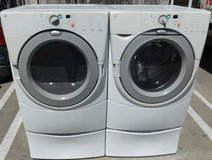 FRONT LOAD WHIRLPOOL DUET WASHER AND GAS DRYER WITH STAND(FINANCING) in Camp Pendleton, California