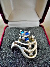 Jewel Ring Silver Diamonds & Sapphires 1930'S Vintage in Lake Elsinore, California
