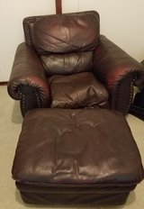Large Overstuffed Leather Comfy chair w/ ottoman living room movie Reading TV  in Kingwood, Texas
