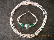 Sterling Silver & Malachite Necklace & Wrist Band Vintage in Lake Elsinore, California