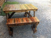Pallet wood picnic table in Fort Polk, Louisiana