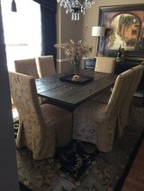 Rustic Dining Room table and six upholstered chairs in Naperville, Illinois