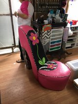 pink high-heeled leather shoe chair in Fort Rucker, Alabama